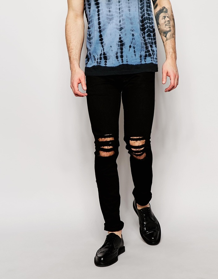 ... Religion Noize Skinny Fit Black Jeans With Cut Outs ...