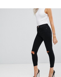 Asos Petite Petite Ridley Skinny Jean In Clean Black With Ripped Knees