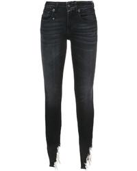 R 13 R13 Ripped Hem Skinny Jeans