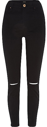River island black ripped knee jeans