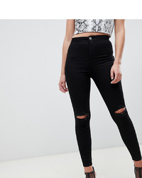 ASOS DESIGN Rivington High Waisted Jeggings With Frayed Knee Rip Detail In Clean Black