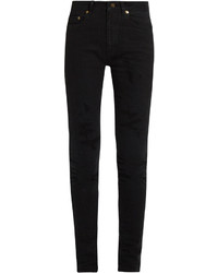 Saint Laurent Mid Rise Distressed Skinny Jeans