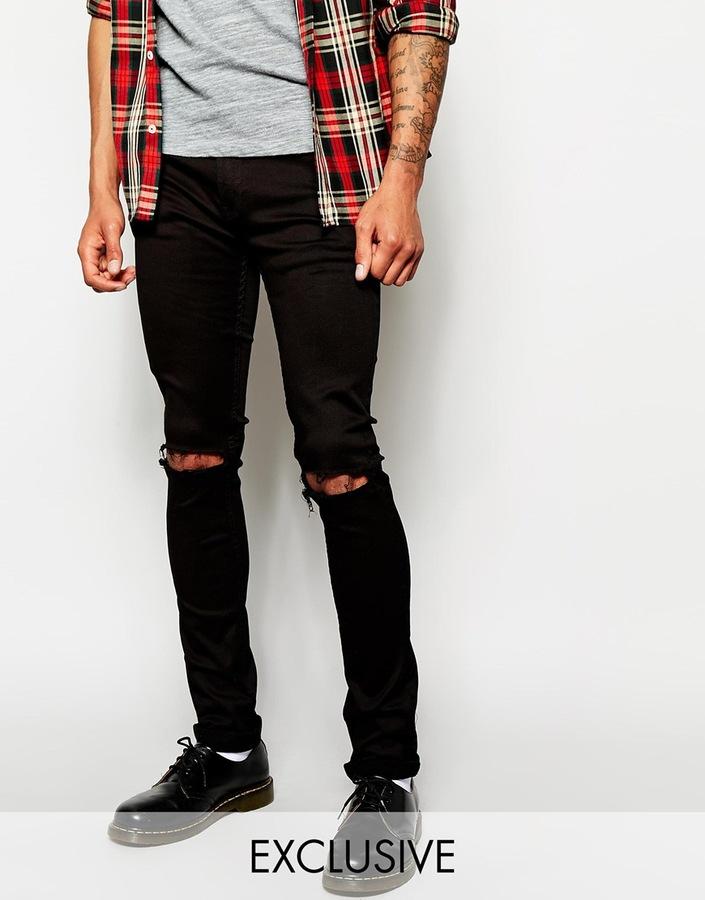 4f54f561aad ... Reclaimed Vintage Skinny Black Ripped Jeans ...