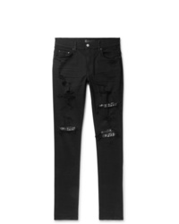 Amiri Skinny Fit Embellished Twill Panelled Distressed Stretch Denim Jeans