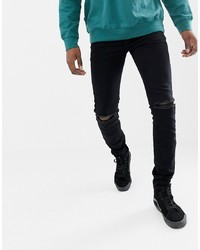 Sixth June Skinny Jeans In Black With Knee Rip