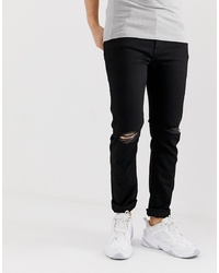 ASOS DESIGN Skinny Jeans In Black With Knee Rips