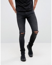 Asos Super Skinny 125oz Jeans With Knee Rips In Washed Black