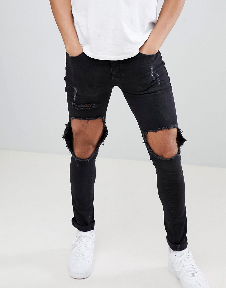 13a77ba8a48 Super Skinny Cordoza With Rips. Black Ripped Skinny Jeans by Mennace