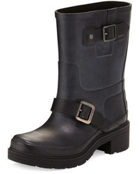 Black Rubber Ankle Boots