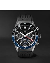 Tag Heuer Carrera Gmt Automatic Chronograph 45mm Stainless Steel And Rubber Watch Ref No Cbg2a1zft6157