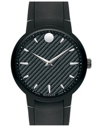 Movado Gravity Carbon Fiber Dial Rubber Strap Watch 42mm