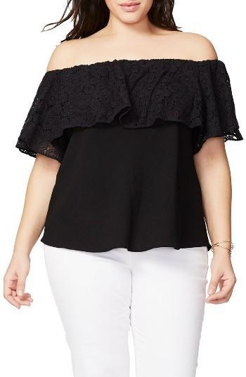 Plus Size Off the Shoulder Lace Top Black