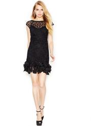 Black Ruffle Lace Sheath Dress