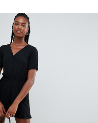 New Look Tall Button Through Playsuit In Black