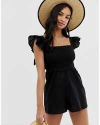 ASOS DESIGN Shirred Playsuit With Frill Sleeve