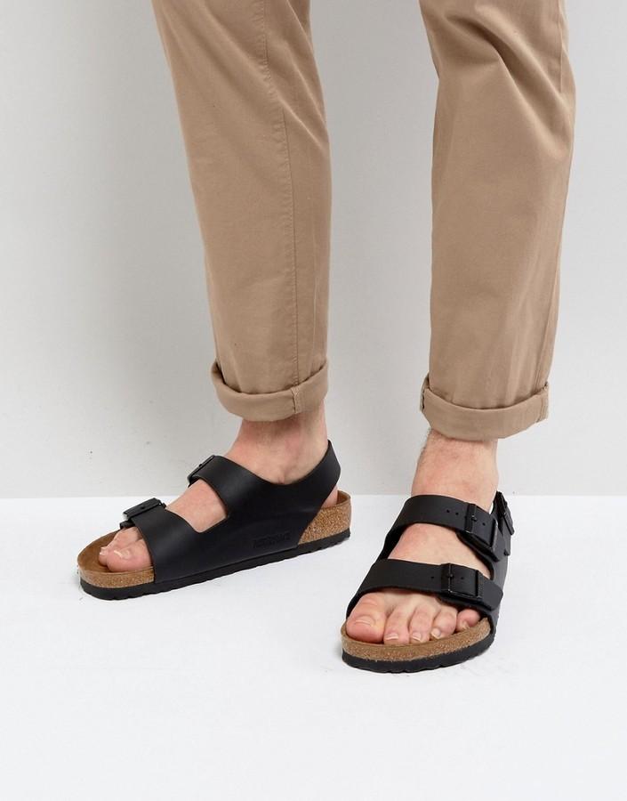 6ce45e5bb64c ... Birkenstock Milano Sandals In Black ...