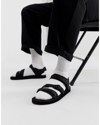 ASOS DESIGN Tech Sandals In Black With Tape S