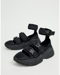ASOS DESIGN Trainer Sandals In Black With Chunky Sole