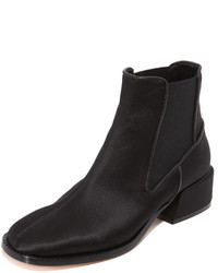 Black Satin Ankle Boots