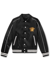 Versace Logo Embroidered Satin Bomber Jacket