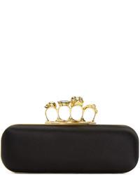 Alexander McQueen Black Satin Knuckle Box Clutch