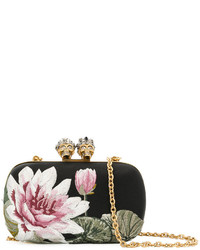Alexander McQueen Floral Embroidered Satin Clutch