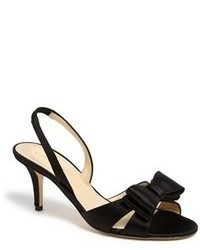 Black Satin Heeled Sandals