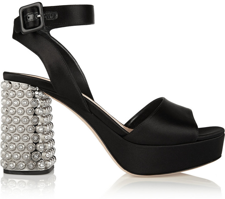 f927ad8fdd97 ... Miu Miu Crystal Embellished Satin Sandals