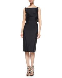 Black Satin Sheath Dress