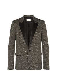 Saint Laurent Single Breasted Sequin Tweed Wool Blend Jacket