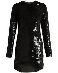 Anthony Vaccarello Long Sleeved Sequin Embellished Silk Dress