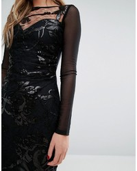f27e7e218f49 Lipsy Sequin Patterned Dress With Mesh Long Sleeve, £22 | Asos ...