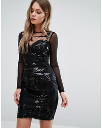 Lipsy Sequin Patterned Dress With Mesh Long Sleeve