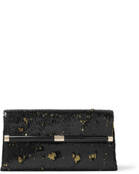Diane von Furstenberg 440 Envelope Sequined Satin Clutch Black