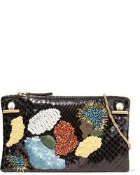 The Row Party Hour 7 Embellished Python Shoulder Bag Black