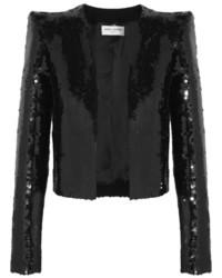 Saint Laurent Cropped Sequined Crepe Jacket Black