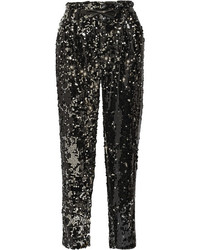 Milly Sequined Tulle Straight Leg Pants