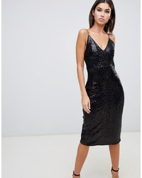 Club L Sequin Cami Midi Dress In Black