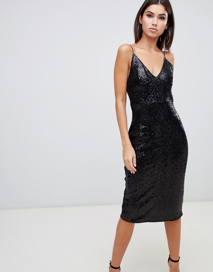 Club L Sequin Cami Midi Dress In Black
