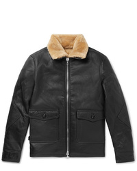 Officine Generale Clyde Shearling Lined Leather Aviator Jacket