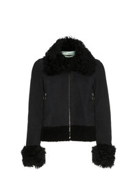 Off-White Cropped Shearling Long Sleeve Coat