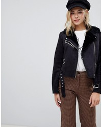 Pimkie Faux Fur Collar Biker Jacket