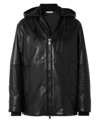 Vince Hooded Shearling Trimmed Leather Jacket