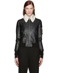 MM6 MAISON MARGIELA Black Shearling Collar Bomber Jacket