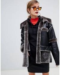 Story Of Lola Pu Aviator Jacket With Contrast Faux Grey