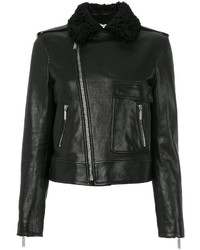 Shearling collar motorcycle jacket medium 3994108