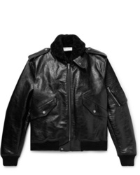 Saint Laurent Shearling Lined Leather Aviator Jacket