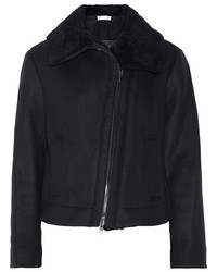 Vince Shearling Trimmed Wool Blend Jacket Black
