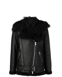 Amen Shearling Zipped Biker Jacket