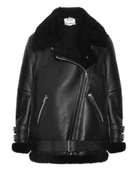 Acne Studios Velocite Shearling Trimmed Leather Biker Jacket